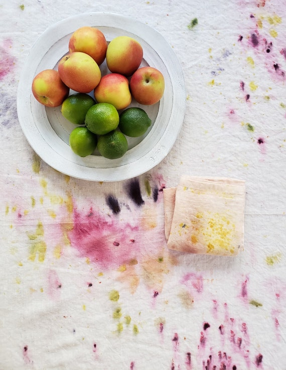 Botanically Dyed Linen Table Cloth Custom / Made to Order