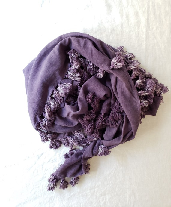 Purple Cotton Tassel Scarf / Botanically Dyed