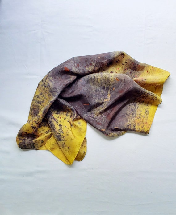 Abstract Print Dyed Silk Scarf