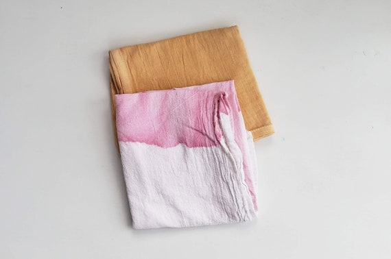 Botanically Dyed Floursack Tea Towel Set / Kitchen Linens / Plant Dyed / Dyed Cotton / Bathroom Linens / Hand towels / Natural Color
