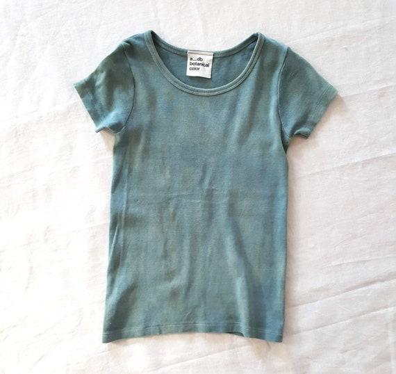 Botanically Dyed Children's Tee / Kids Tee/ Eco Fashion / Slow Fashion / Hand Dyed / Botanical Color / Natural Color / Indigo dye / Shibori