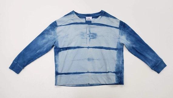 Indigo Shibori Dyed Sweatshirt/ Botanically Dyed Sweatshirt-Size XL