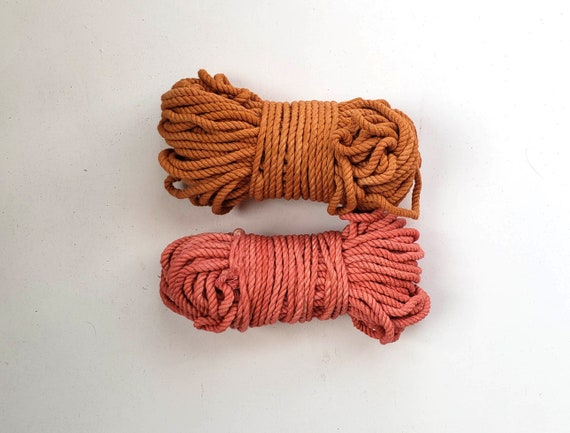 Two Pack Naturally Dyed Rope / Hand Dyed Macrame Rope / Botanically Dyed Cord / Naturally Dyed Weaving Fiber