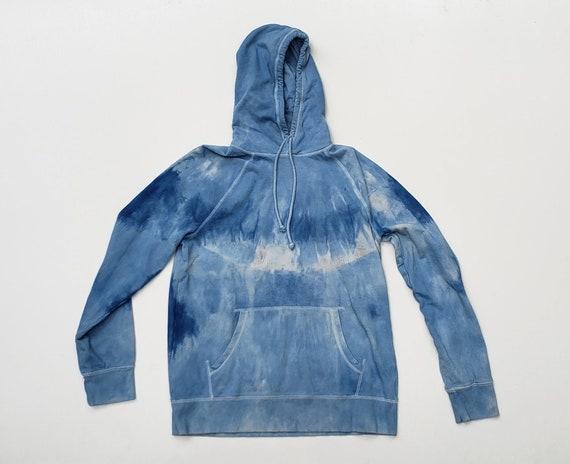 Indigo Shibori Dyed Sweatshirt Hoodie Pullover Sweatshirt-Size L