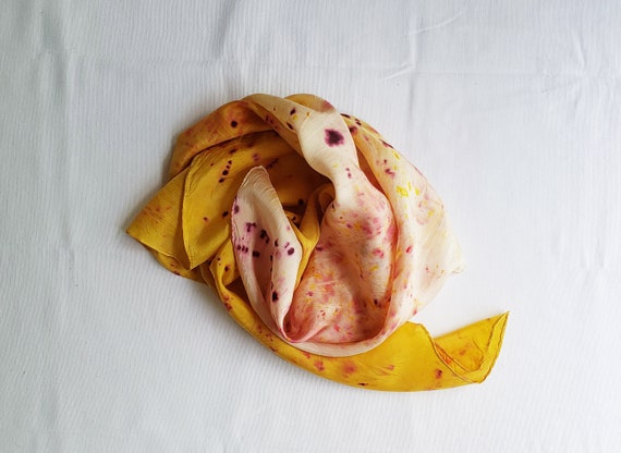 Botanically Bundle Dyed Silk Scarf | Abstract Print