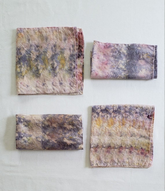 Botanically Dyed Linen Napkin Set / Natural Dyed Linen / Entertaining / Bundle Dyed/  Linen Napkin Set / Housewarming Gift