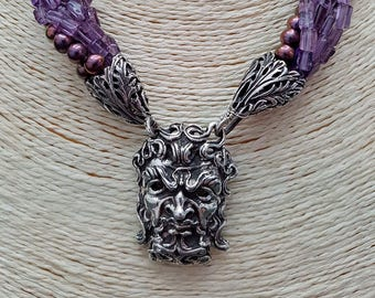 Necklace with Apotropaic mask, pearls and amethyst