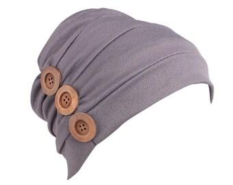 DJC Jewelled Chemo Hair Loss Beanie Hat Scarf Turban Head Wrap Cancer Navy Chemo Headwear for Women