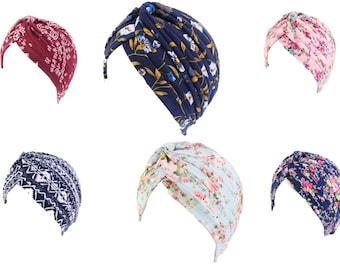 Chemo Beanie Headwear Stretch Chemo Hair Loss Floral Super Soft Turban Beanie **8 Colours** Headwear Alopecia Hat Cap - FREE UK P&P