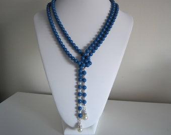 swarovski blue and white pearl lariat .   white swarovski crystal pearl ear rings