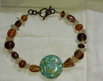 Brown and sea green bracelet
