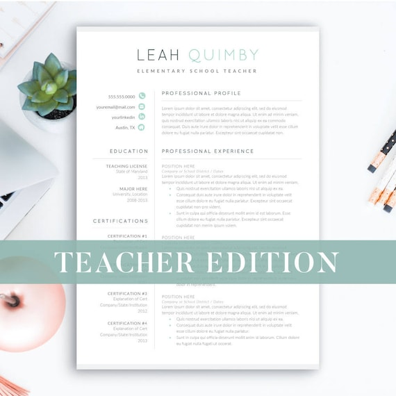Lehrer Lebenslauf Vorlage für Word 1-3 Seite fortsetzen für | Etsy