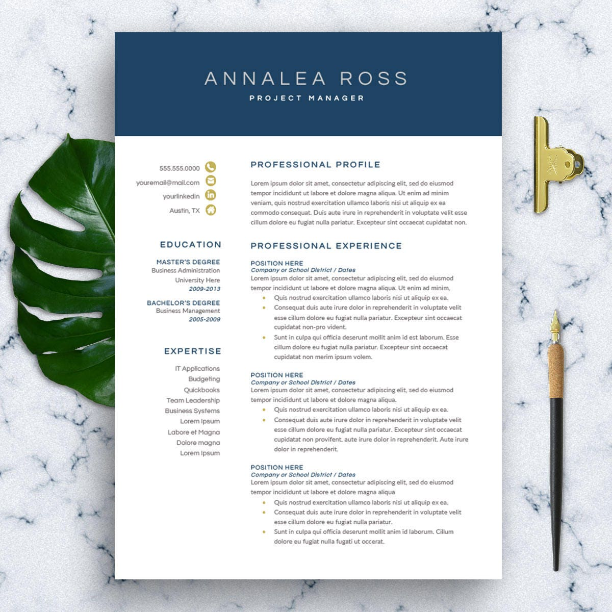 Modern Resume Template For Word 1 3 Page Resume Cover: Modern Resume Template For Word 1-3 Page Resume CV