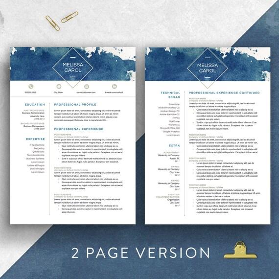 2 Arten Moderne Lebenslauf Vorlage Word 1 3 Seite Fortsetzen Etsy