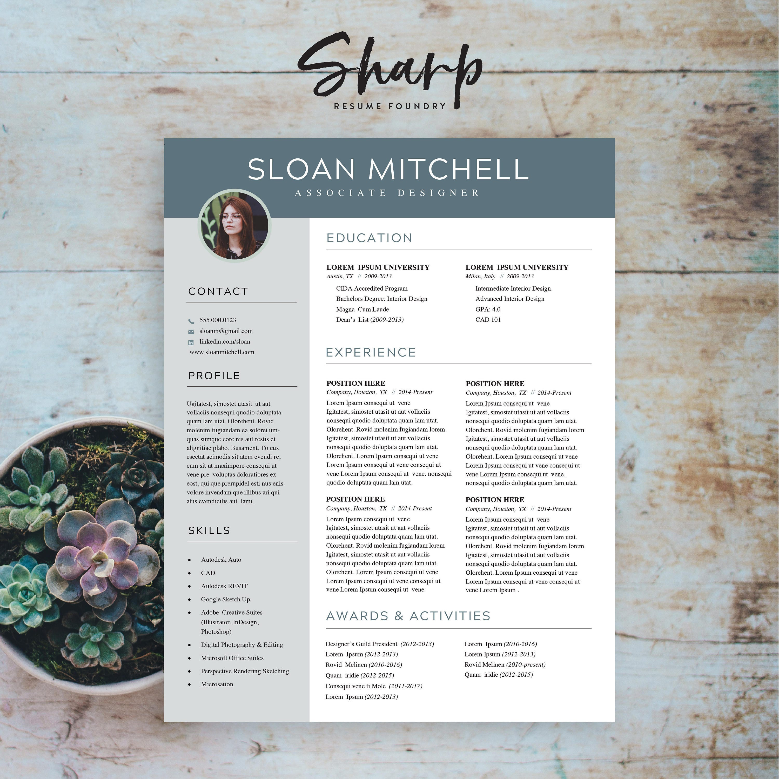 Creative Resume Template for Word | 3 Colors | Resume Design | Resume  Template with Photo | CV + Cover Letter Templates | Instant Download