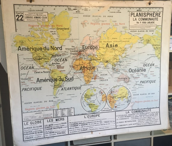 VINTAGE old school VIDAL LABACHE planisphere map bound 22 /   Etsy