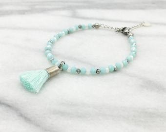 Mint green tassel bracelet