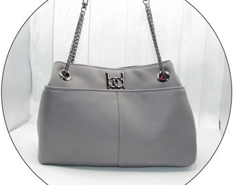 ZOOP! Purse - Grey, Handbag, Shoulder Bag, Faux Leather, Handmade, Handcrafted