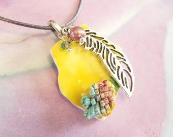 Repurposed Ceramic Shard Charm Necklace