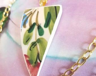 Floral Ceramic Shard Pendant Necklace