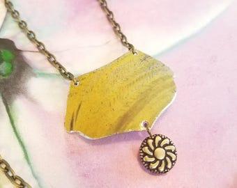 Hand Cut Vintage Tin Necklace