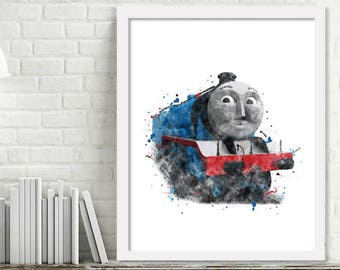Printable Gordon Watercolor Train Wall Art, Boy Kids Room Decor, Thomas and Friends Train Art, Steam Engine Print Digital Download Picture
