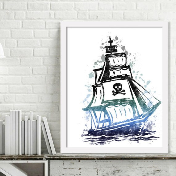 Printable Pirate Ship Wall Art Pirate Print Watercolor Kids | Etsy