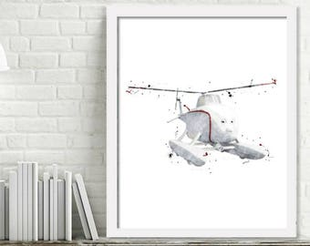 Printable Harold Helicopter Watercolor Wall Art, Boy Kids Room Decor, Thomas and Friends Train Art, Helicopter Print Digital Download