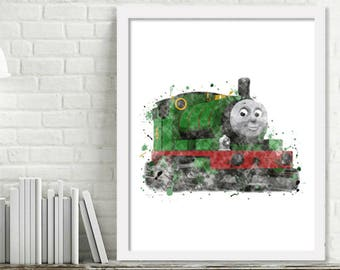 Printable Percy Watercolor Train Wall Art, Boy Kids Room Decor, Thomas and Friends Train Art, Steam Engine Print Digital Download Picture