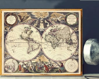 world map old world map poster old maps vintage maps renaissance world