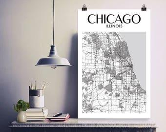 Impression de Chicago, Chicago, affiche de Chicago, Chicago Art, carte de Chicago, Chicago, Illinois, cadeau de Chicago, Chicago, Illinois carte imprimée, ville de Chicago