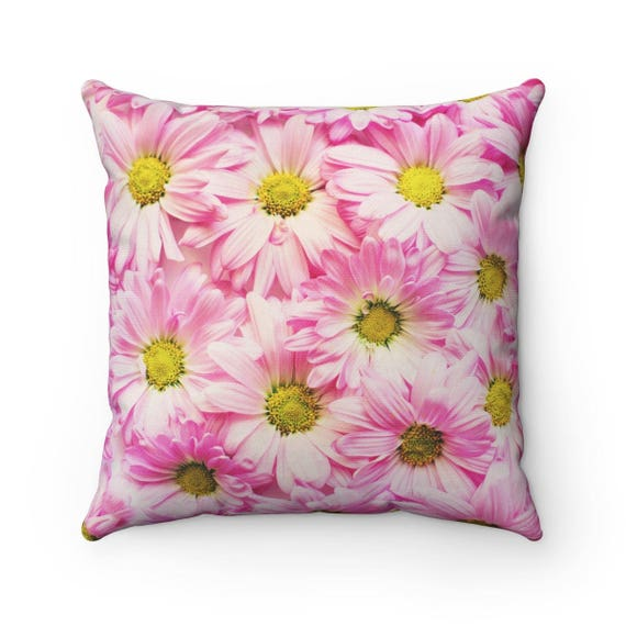 Spring Pink Flower Pillow Case Pink Margarets Cushion Cover Etsy
