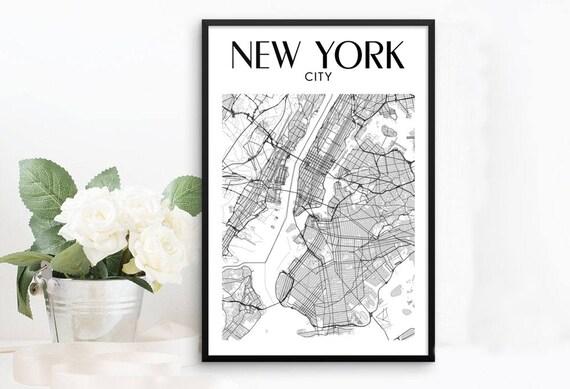 New York Map Framed Poster New York City Print New York | Etsy