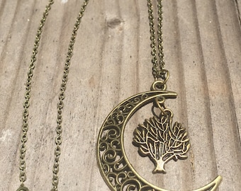 Moon tree of life necklace
