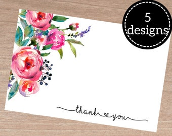 Thankyou notecard, floral thankyou card, notecards pack, thankyou notes, thanks giving, printable notecard, floral greeting card