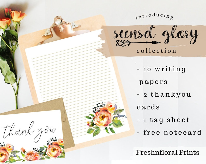 image about Downloadable Stationery called Printable stationery mounted, Floral Stationery Established, downloadable stationery established, floral notecards, Bridesmaid presents Sunset Glory