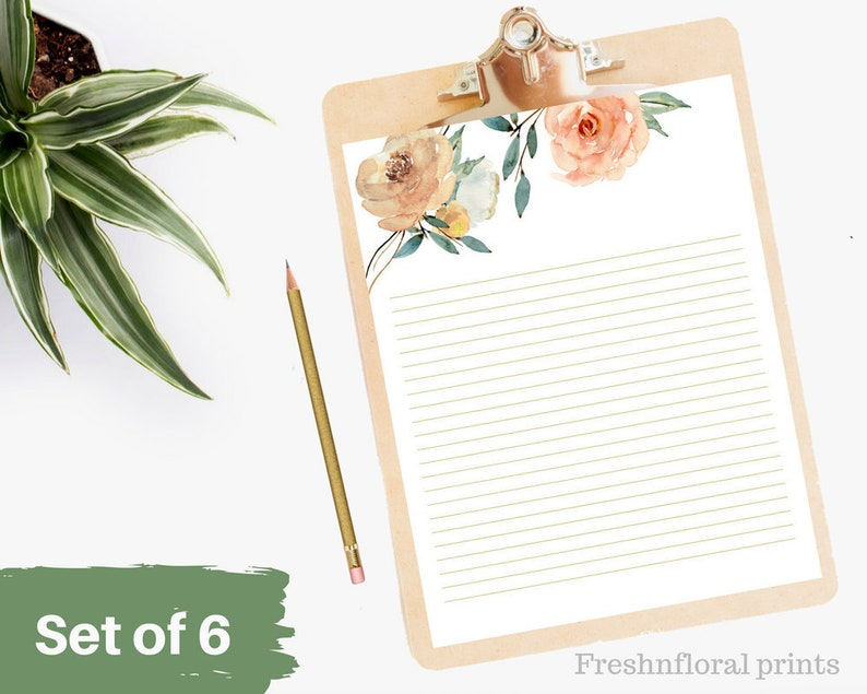 graphic relating to Printable Letter Papers called Mounted of 6 Printables Letter paper, Rustic floral producing paper, 8.5 x 11 in just, Floral letter paper, Fast Downloads, Floral Sbook package
