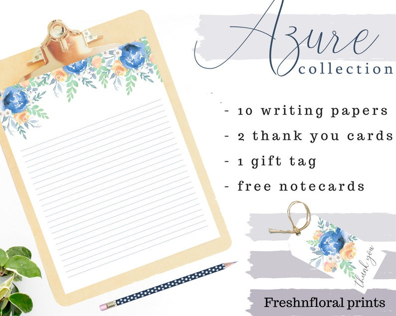 photo about Downloadable Stationery named Printable stationery mounted, Floral Stationery Fixed, downloadable stationery established, floral notecards, Seaside marriage stationery Azure