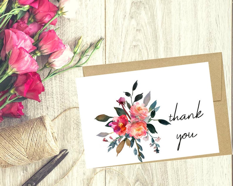 greeting cards Printable thank you card Savannah Floral thank you card favor cards Baby shower cards Bridal shower cards