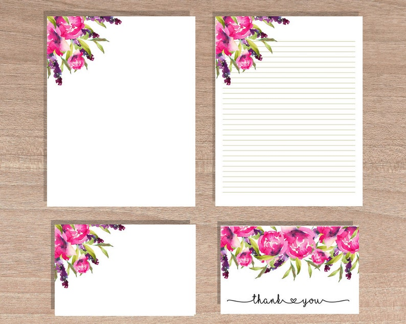 graphic about Downloadable Stationery titled Printable stationery mounted, Floral Stationery Fastened, downloadable stationery mounted, Notecard Fastened, floral notecards, Bridesmaid presents Valentino