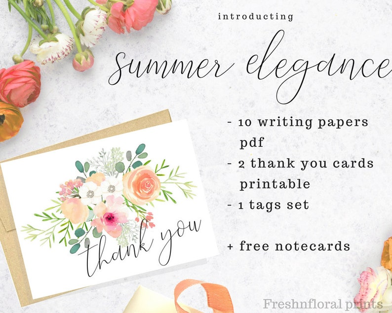 graphic relating to Free Printable Stationery Pdf referred to as Printable stationery fastened, Floral Stationery Mounted, downloadable stationery established, floral notecards, Bridesmaid presents Summer time Beauty