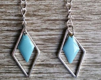 Diamond silver and Turquoise - Silver earrings