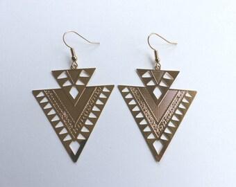 Geometric gold metal plate earrings