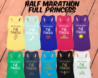 Half Marathon, Full Princess | Choose Your Princess Women's Disney Tank Top | Disney Princess Disney Running Shirt | Run Disney Tank Top