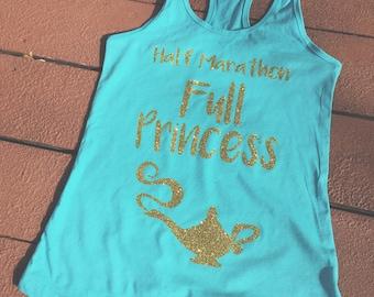 Half Marathon, Full Princess | Princess Women's Disney Tank Top | Disney Princess Jasmine Aladdin  Running Shirt | Run Disney Tank Top