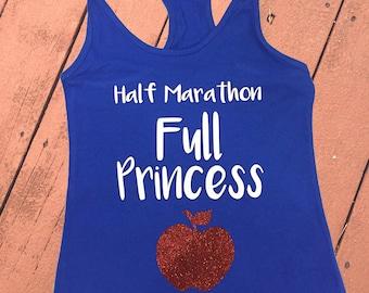 Half Marathon, Full Princess | Princess Snow White Women's Disney Tank Top | Disney Snow White Disney Running Shirt | Run Disney Tank Top