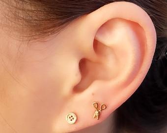 Tiny scissors & button shape Earring/ cute Earring/ Stud Earrings