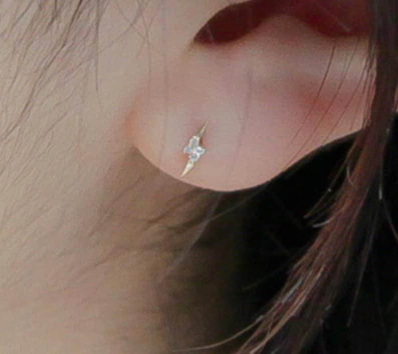 14K solid Gold tiny moon/&star.bolt earring 14K gold stud 14K gold minimalist 14K real gold earring 14K solid gold stud