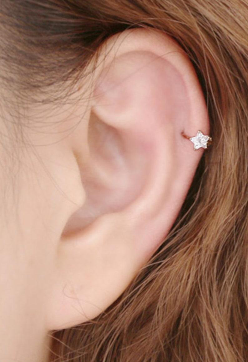 14k Rose Gold Hoop Nose Lip Ear Cartilage Helix Rings Stud Body