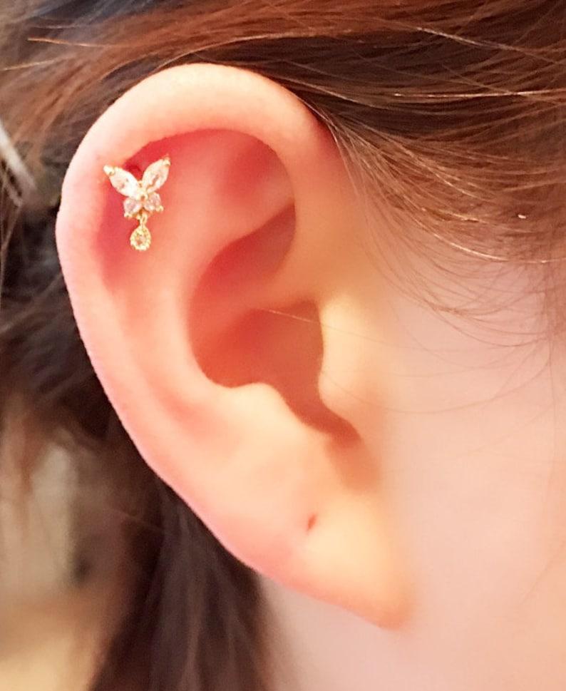 ad9580494 Butterfly with tear Drop Dangle Piercing/Cartilage earring/CZ | Etsy